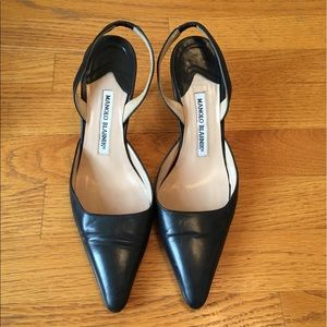 Navy Blue Leather Manolo Blahnik Heels